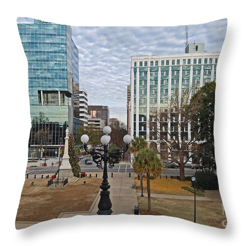 Scenic Tours Throw Pillow featuring the photograph Christmas In Columbia by Skip Willits