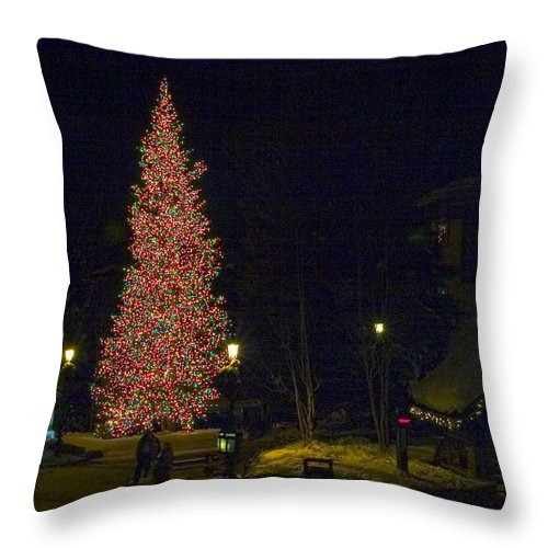 Christmas Landscape Throw Pillow featuring the photograph Christmas In Vail by David Salter