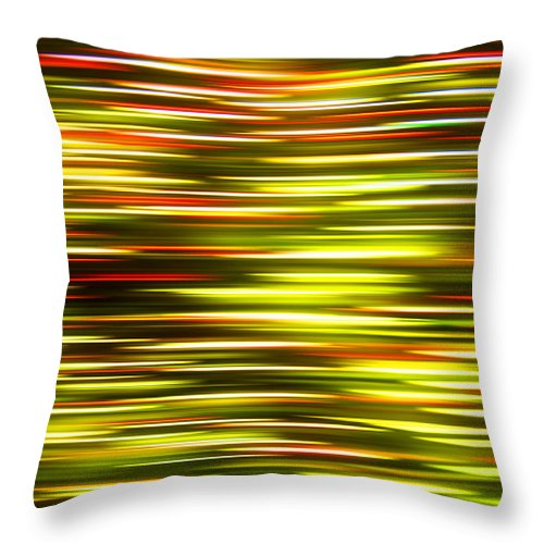 Abstract Throw Pillow featuring the photograph Christmas Lights Pan by Pam Elliott
