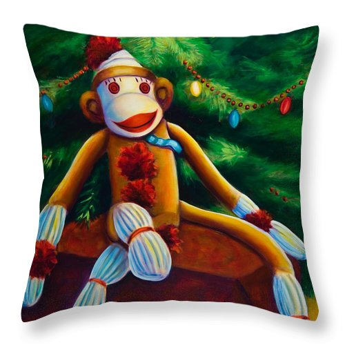 Sock Monkey Throw Pillow featuring the painting Christmas Made Of Sockies by Shannon Grissom