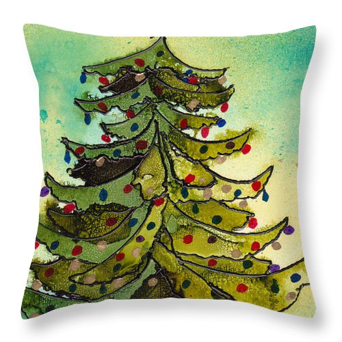 Christmas Throw Pillow featuring the painting Christmas Morning 2008 by Susan Kubes