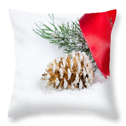 Fir Throw Pillow featuring the photograph Christmas Objects On Snow by Thomas Baker