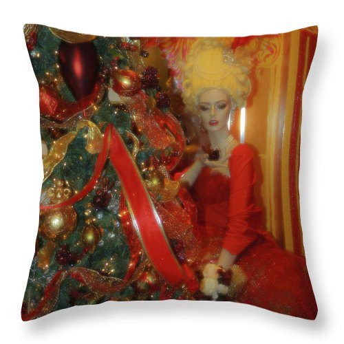 Christmas Throw Pillow featuring the photograph Christmas Parlor Fashions For Evergreens Event Hotel Roanoke 2009 by Teresa Mucha