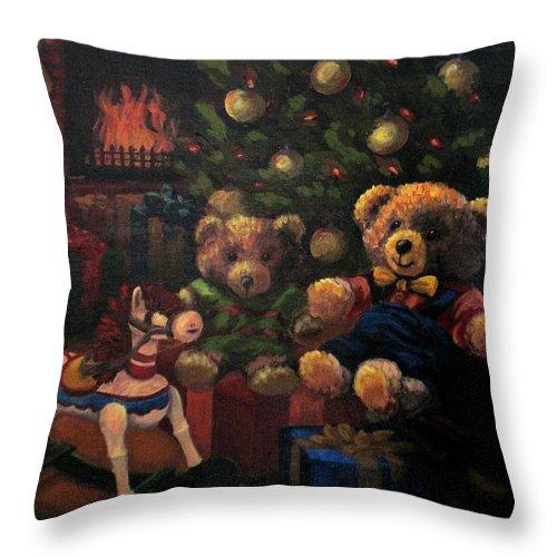 Christmas Throw Pillow featuring the painting Christmas Past by Karen Ilari