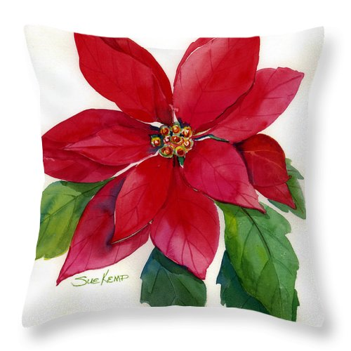 Flower Painting Throw Pillow featuring the painting Christmas Poinsettia by Sue Kemp
