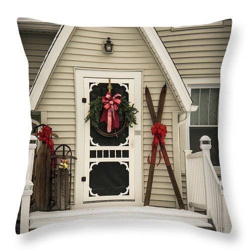 Porch Throw Pillow featuring the photograph Christmas Porch by Joann Waggoner