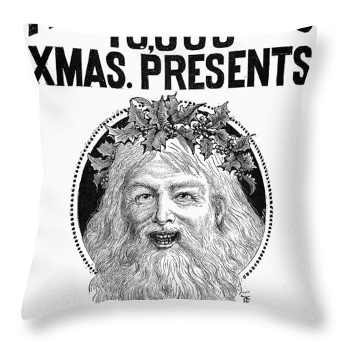 1890 Throw Pillow featuring the photograph Christmas Present Ad, 1890 by Granger