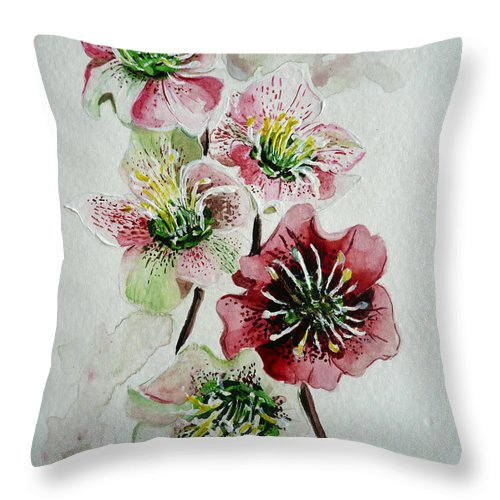Floral Flower Pink Throw Pillow featuring the painting Christmas Rose by Karin Dawn Kelshall- Best