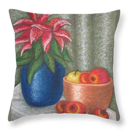 Christmas Rose Throw Pillow featuring the pastel Christmas Rose by Stella Velka