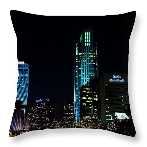 Winter Scene Throw Pillow featuring the photograph Christmas Time In Omaha by Edward Peterson