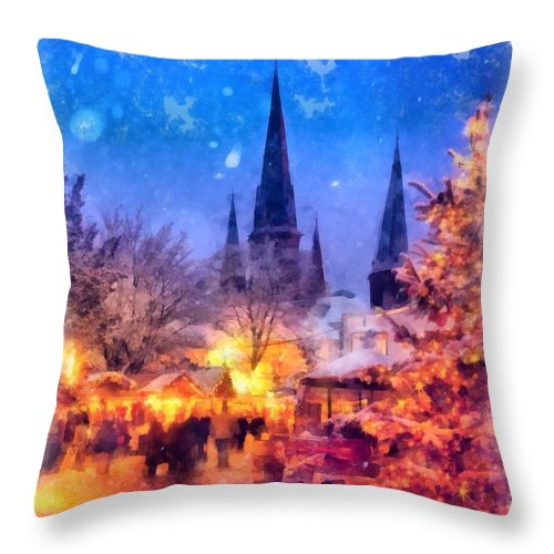 Christmas Throw Pillow featuring the painting Christmas Town by Esoterica Art Agency