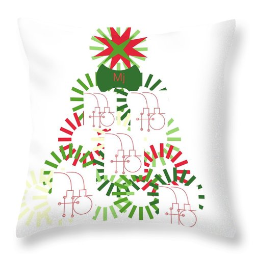 Christmas Card Throw Pillow featuring the digital art Christmas Tree by Mary Jo Hopton