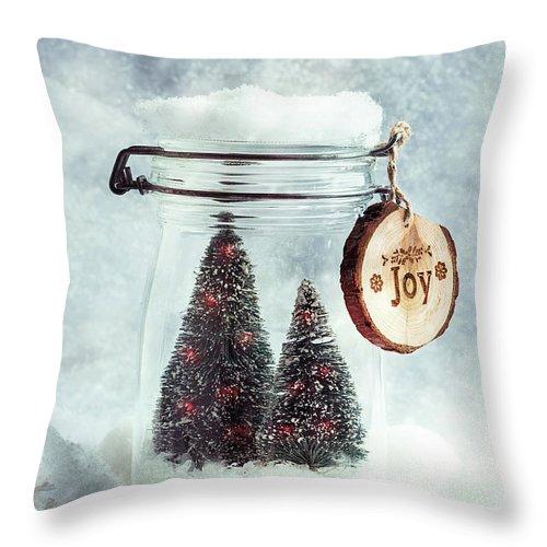 Fir Throw Pillow featuring the photograph Christmas Tree Snowglobe by Amanda Elwell