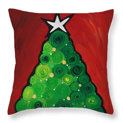 Christmas Throw Pillow featuring the painting Christmas Tree Twinkle by Sharon Cummings