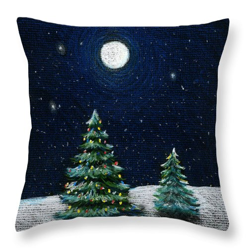 Christmas Trees Throw Pillow featuring the drawing Christmas Trees In The Moonlight by Nancy Mueller