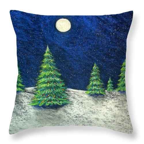 Christmas Throw Pillow featuring the drawing Christmas Trees In The Snow by Nancy Mueller