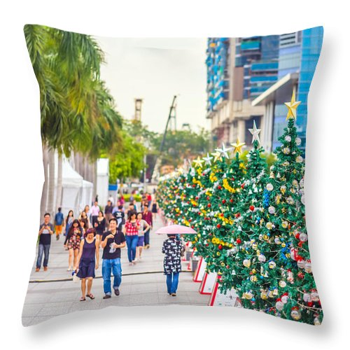 Christmas Throw Pillow featuring the photograph Christmas Trees by Jijo George
