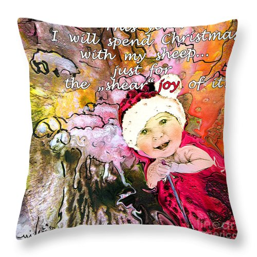 Acrylics Throw Pillow featuring the painting Christmas With My Sheep by Miki De Goodaboom