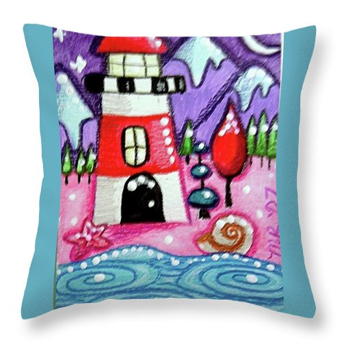 Lighthouse Throw Pillow featuring the painting Christmasy Lighthouse by Monica Resinger