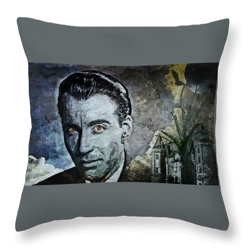 Christopher Lee Throw Pillow featuring the digital art Christopher Lee by Absinthe Art By Michelle LeAnn Scott