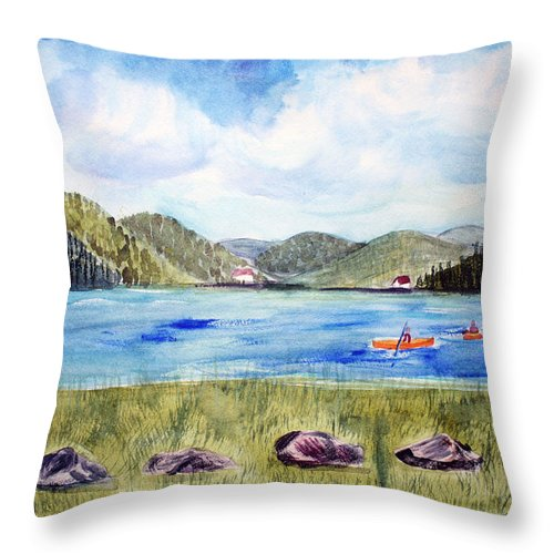 Chrystal Lake Throw Pillow featuring the painting Chrystal Lake Barton Vt by Donna Walsh