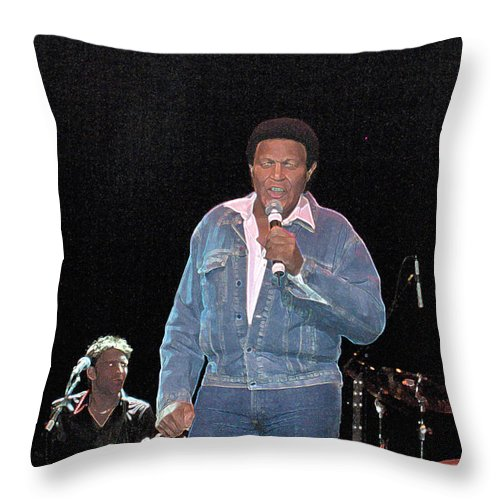 Chubby Checker Singer Bands Music Blues Dance Star Concert Throw Pillow featuring the photograph Chubby Checker by Andrea Lawrence