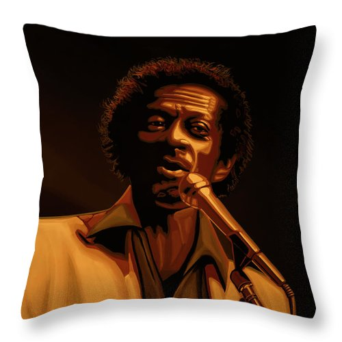 Chuck Berry Throw Pillow featuring the mixed media Chuck Berry Gold by Paul Meijering