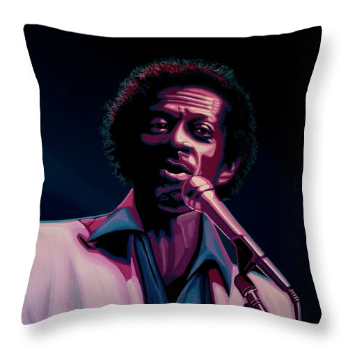 Chuck Berry Throw Pillow featuring the painting Chuck Berry by Paul Meijering
