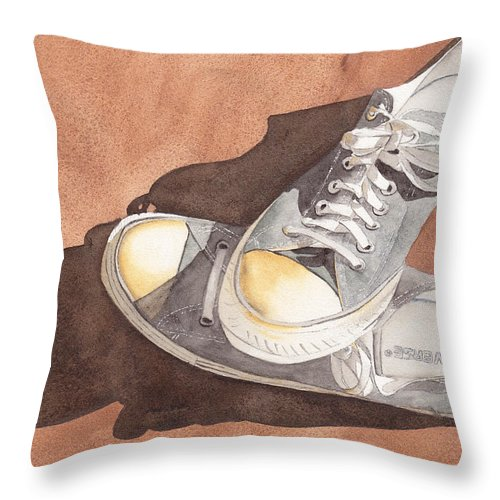 Shoes Throw Pillow featuring the painting Chucks by Ken Powers