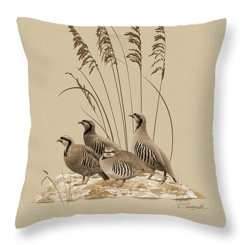 Partridge Throw Pillow featuring the digital art Chukar Partridges by M Spadecaller