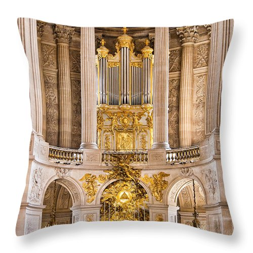 Palace Of Versailles Paris France Throw Pillow featuring the photograph Church Altar Inside Palace Of Versailles by Jon Berghoff