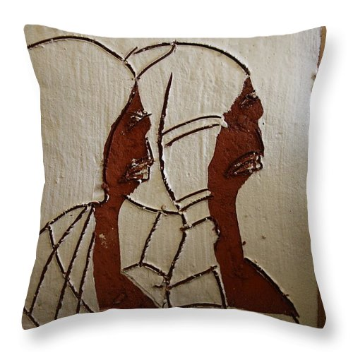 Jesus Throw Pillow featuring the ceramic art Church Day - Tile by Gloria Ssali