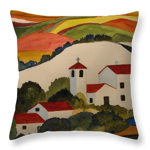 Throw Pillow featuring the painting Church by Donna Steward