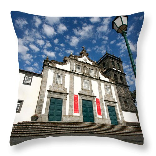 Catholic Throw Pillow featuring the photograph Church In Ribeira Grande by Gaspar Avila