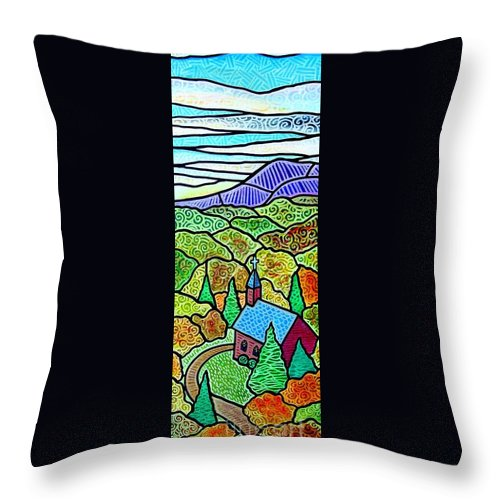 Church Throw Pillow featuring the painting Church In The Wildwood by Jim Harris