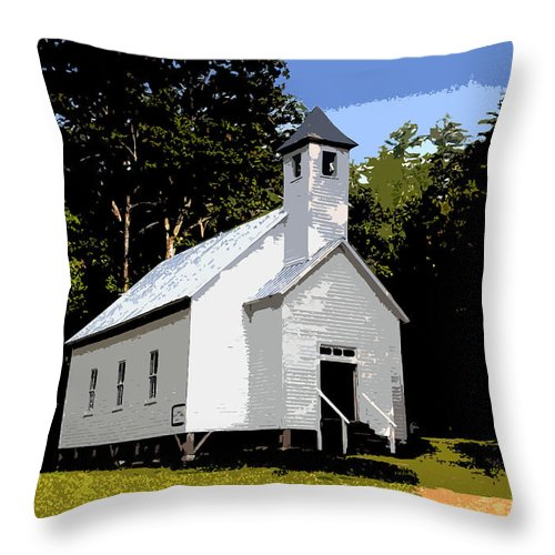 Baptist Church Throw Pillow featuring the painting Church Of The Baptist by David Lee Thompson