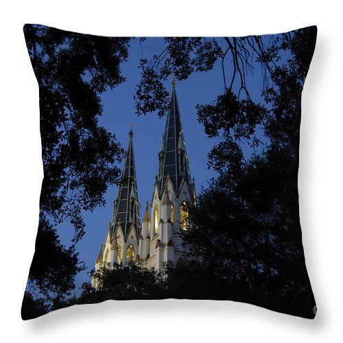 Church Steeple Throw Pillow featuring the photograph Church Steeples by David Lee Thompson