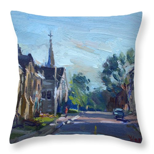 Churche Throw Pillow featuring the painting Churche In Downtown Georgetown On by Ylli Haruni