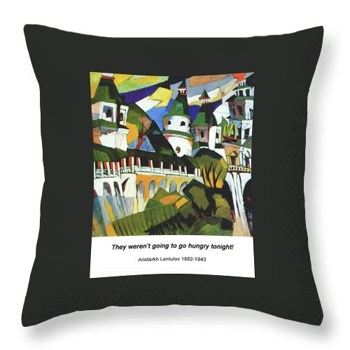 Altered Art Throw Pillow featuring the digital art Churches by John Saunders