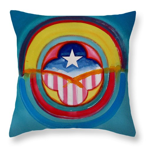 Button Throw Pillow featuring the painting CIA by Charles Stuart