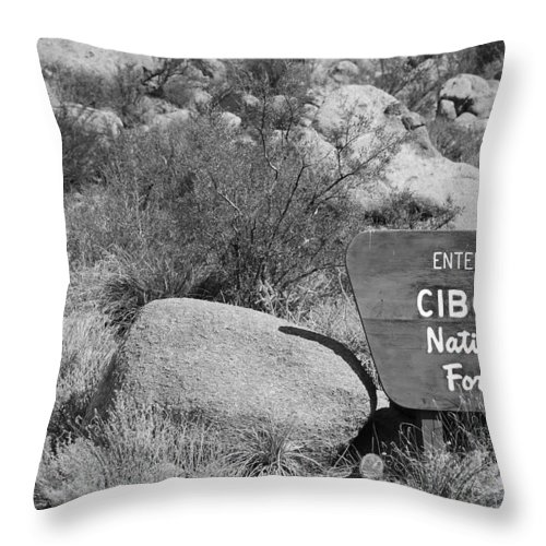 Black And White Throw Pillow featuring the photograph Cibola National Forest by Rob Hans