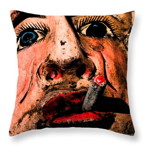 Smoking Throw Pillow featuring the photograph Cig by Gary Everson