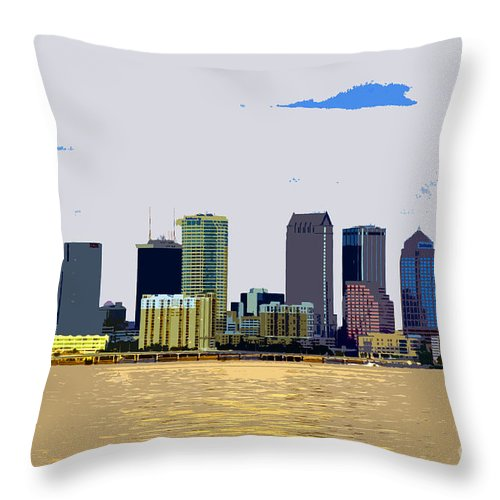 Cigar City Throw Pillow featuring the painting Cigar City Skyline by David Lee Thompson
