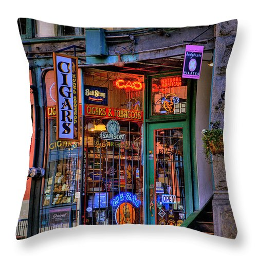 Pioneer Square Seattle Throw Pillow featuring the photograph Cigar Store by David Patterson