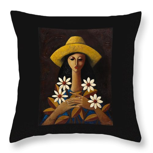 Puerto Rico Throw Pillow featuring the painting Cinco Margaritas by Oscar Ortiz