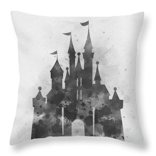 Cinderella Throw Pillow featuring the mixed media Cinderella Castle Black And White by My Inspiration