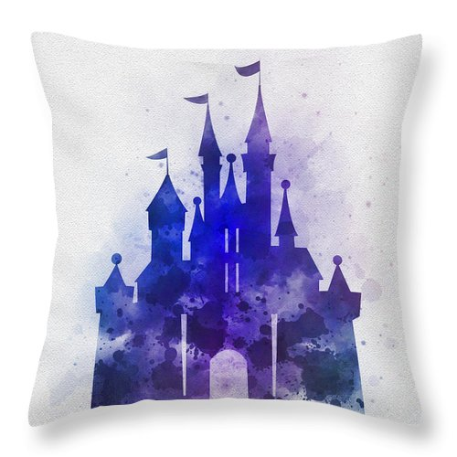 Cinderella Throw Pillow featuring the mixed media Cinderella Castle Blue by My Inspiration