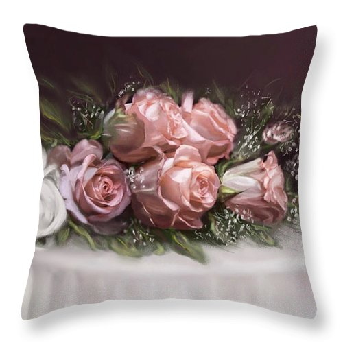 Roses Throw Pillow featuring the painting Spray Of Roses by Bonnie Willis