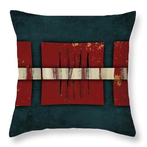 Cinnabar Throw Pillow featuring the mixed media Cinnabar And Indigo Number 2 Of 2 by Carol Leigh