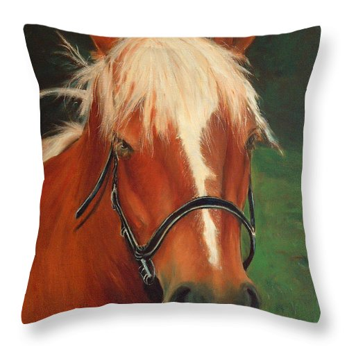 Euqestrian Art Throw Pillow featuring the painting Cinnamon The Horse by Enzie Shahmiri